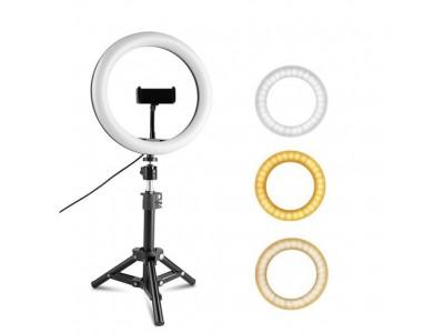 Обзор на кольцевую лампу диаметром 26 см на штативе высотой 210 см с держателем для телефона.