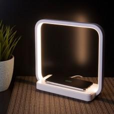 Светодиодная настольная лампа с беспроводной зарядкой KL- 801 белый